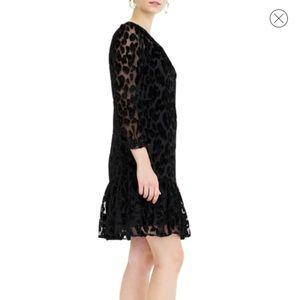 68032c30af53 J. Crew Dresses | J Crew Leopard Flutter Hem Burnout Velvet Dress ...